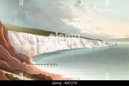 Alum Bay, Isle of Wight, viktorianischen Abbildung - Stockfoto