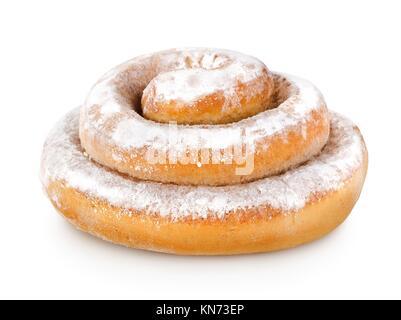 Cinnamon Bun auf weißem Hintergrund. - Stockfoto