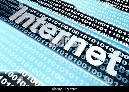 Das Wort Internet vor einem binären Hintergrund. - Stockfoto