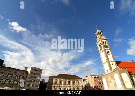Alte Stadt Zentrum von Augsburg mit St. Peter, Bayern, Deutschland, Europa. - Stockfoto