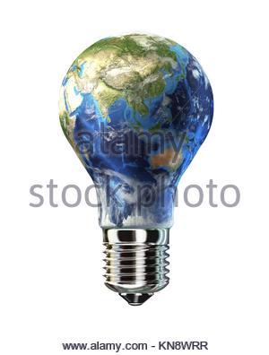 Glühbirne mit Erde anstelle von Glas. Asien-Ansicht. Auf weißem Hintergrund. Clipping-Pfad enthalten. - Stockfoto
