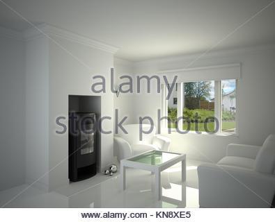 ... Weiße Wohnzimmer Mit Kamin.   Stockfoto