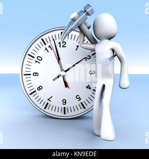 Eine Cartoon-Figur mit einer Uhr. 3D gerenderte Darstellung. - Stockfoto