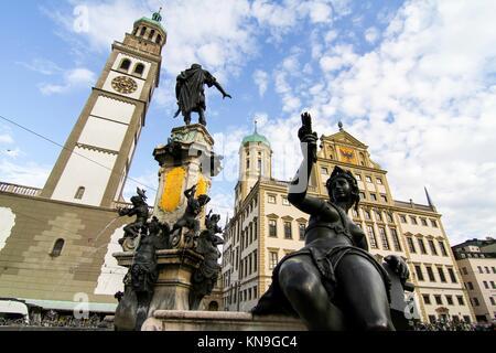 Die Prachtbrunnen Brunnen im Zentrum von Augsburg, Deutschland, Europa. - Stockfoto