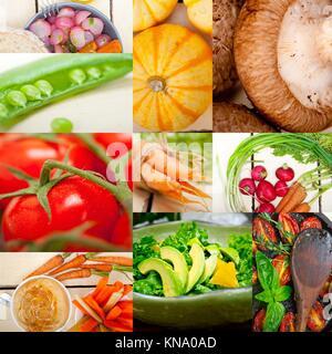 Frische hearthy gesundes Gemüse Auswahl essen collage Komposition. - Stockfoto