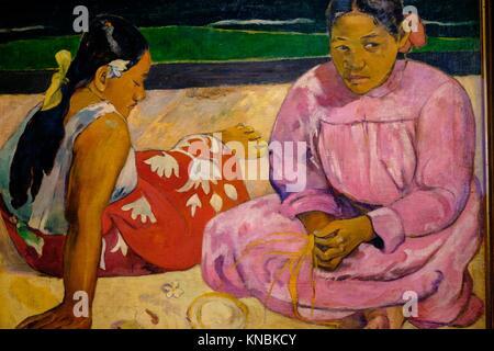 Mujeres de Tahití (En la playa). (Femme de Tahiti ou sur la plage), Paul Gauguin, 1891, Öl auf Leinwand, Postimpresionismo, - Stockfoto