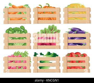 Satz von Holzkiste für Gemüse und Früchte Holzkisten Frontansicht mit frischen Lebensmitteln mit Vector Illustration - Stockfoto