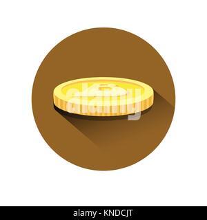 Realistische Golden Bitcoin isometrische Symbol moderner Web Geld digitale Währung Logo Konzept - Stockfoto