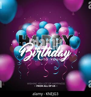 Happy Birthday Vektor Design mit Ballon, Typografie und 3D-Elements auf glänzenden Hintergrund. Abbildung für Geburtstag. - Stockfoto