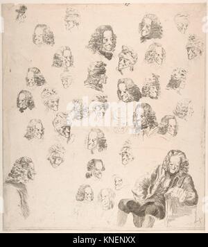 Skizzen von Voltaire an Alter Eighty-One. Artist: Baron Dominique Vivant Denon (Französisch, Givry 1747-1825 Paris); Datum: 1775; Medium: Radierung;