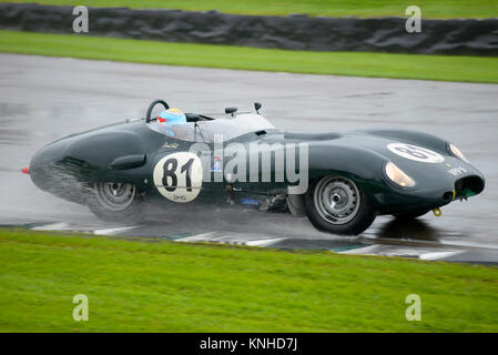 1959 Lister Jaguar Costin besessen und durch David Hart-racing in der Sussex Trophy in Goodwood Revival 2017 angetrieben - Stockfoto