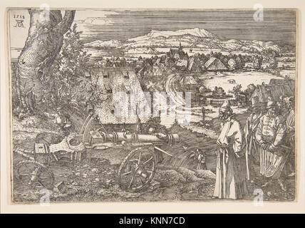 Landschaft mit einer grossen Kanone. Künstler: Albrecht Dürer (Deutsch, Nürnberg 1471-1528 Nürnberg); Datum: 1518; - Stockfoto