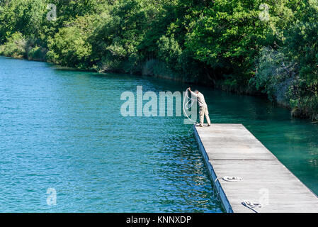 Tal des Flusses Krka, Nationalpark Krka, Port in Sibenik, Kroatien, 27. Mai 2017 - Stockfoto