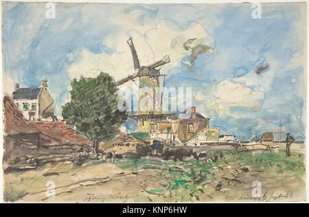 Wind Mill in Antwerpen. Artist: Johan Barthold Jongkind (Niederländisch, Latrop 1819-1891 La-Côte-Saint-André); - Stockfoto