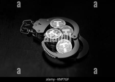 Stapel von Silver Halteband Münzen in Handschellen als sehr unzuverlässig wird und schattigen Konzept. 3D-Rendering