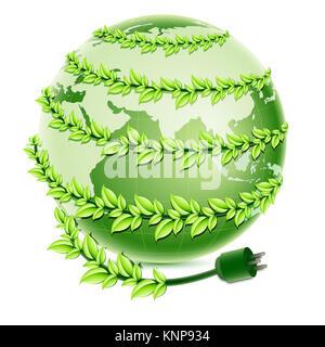 Illustration der Recycling-Globus mit Stecker auf weißem Hintergrund - Stockfoto