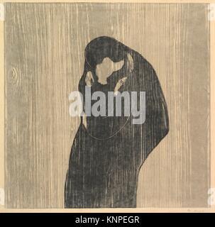 Der Kuss IV. Artist: Edvard Munch (Norwegisch, LÃ'10 1863-1944 Ekely); Datum: 1902; Medium: Holzschnitt; Abmessungen: - Stockfoto