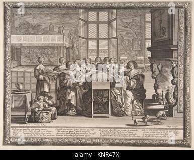 Frauen am Tisch während der Abwesenheit ihrer Männer. Artist: Abraham Bosse (Französisch, Touren 1602/1604-1676 - Stockfoto