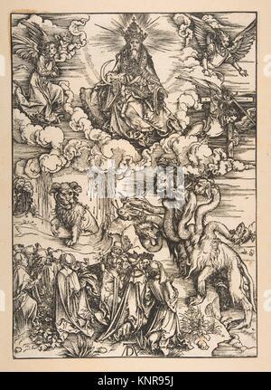 Das Tier mit zwei Hörnern wie ein Lamm aus der Apokalypse, lateinischen Ausgabe 1511. Künstler: Albrecht Dürer (Deutsch, - Stockfoto