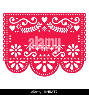 Mexikanische Papel Picado vector Template Design - traditionelle rote Vektor Muster mit leeren Text - Stockfoto