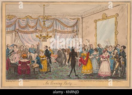 Ein Abend Party. Artist: George Cruikshank (Briten, London 1792-1878, London); Künstler: nach H.T.D.B. (Briten, 19. Jahrhundert); Herausgeber: veröffentlicht.