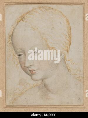 Kopf einer Frau. Artist: Anonym, Böhmen, 15 Jh.; Datum: Ca. 1405-10; Medium: Aquarell auf Pergament; Abmessungen: - Stockfoto