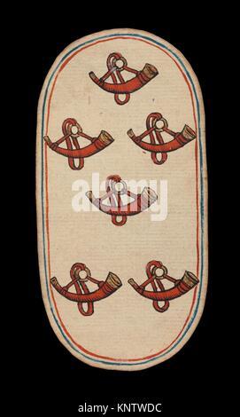 6 der Hörner, aus den Kreuzgängen Karten spielen. Datum: Ca. 1475-80; Geographie: im burgundischen Gebiete; Kultur: - Stockfoto