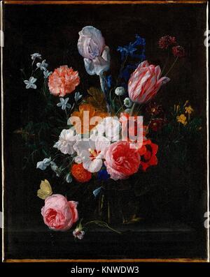 Ein Blumenstrauß in einem Kristall Vase. Artist: Nicolaes van Veerendael (Flämisch, 1640-1691); Datum: 1662; Medium: - Stockfoto