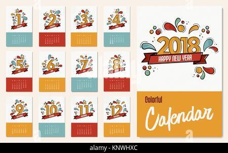Neues Jahr 2018 Vorlage Kalender, monatliche Planer mit lustigen ...