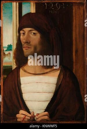 Porträt eines Menschen. Artist: Deutsch (Nürnberg) Maler (Ende 15. Jahrhundert); Datum: 1491; Medium: Öl auf Linden; - Stockfoto
