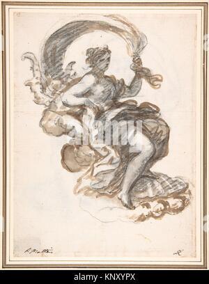 Studien einer Zurückgelehnten Frau auf einer Muschel, für den Triumph der Galatea (Recto und verso). Artist: Paolo - Stockfoto