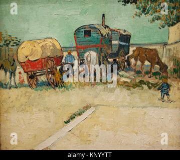 Les Roulottes, campement de Bohemiens aux Umgebung d'Arles. 1888. Vincent Van Gogh. Museum Orsay. Paris. Frankreich. - Stockfoto