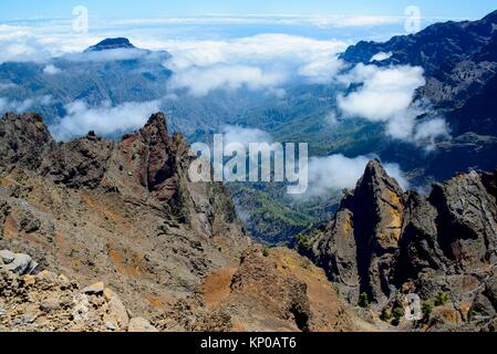 Caldera de Taburiente desde el Roque de Los Muchachos. La Palma. Islas Canarias. España. Europa. - Stockfoto