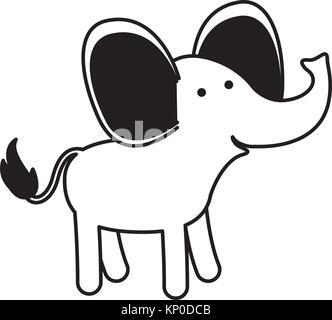 Elefant Cartoon in schwarz Abschnitte Silhouette auf weißem Hintergrund - Stockfoto
