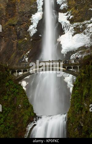 Multnomah fällt mit Benson Bridge, Historic Columbia River Highway, Mt Hood National Forest, Columbia River Gorge - Stockfoto