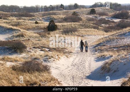 Ein paar Spaziergänge durch die Dünen am sandigen Neck Beach in Cambridge, MA (Cape Cod) an einem Winter, USA - Stockfoto