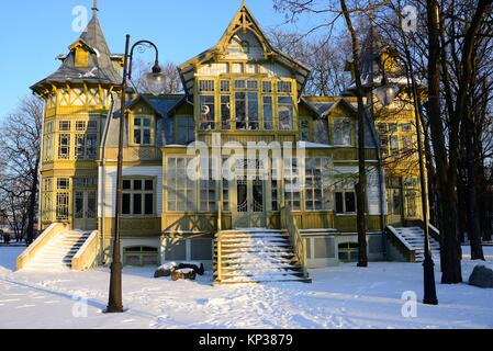 Freilichtmuseum von Lodz Holzarchitektur, integraler Bestandteil der zentralen Museum der Textilien im historischen - Stockfoto