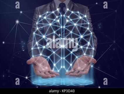Doppelbelichtung Geschäftsmann Hand Der polygonale Gehirn Form einer künstlichen Intelligenz mit Linien und Punkten - Stockfoto