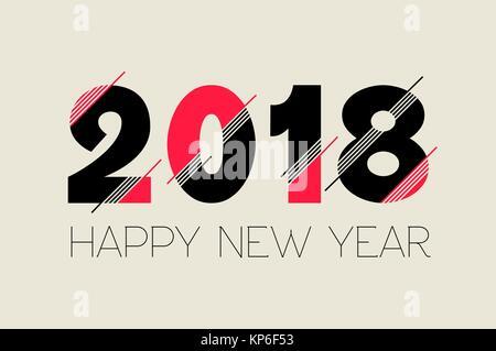 Frohes Neues Jahr Typografie Anzahl 2018 Design, moderne Angebot ideal für Grußkarte oder Feiertag Party Einladung. - Stockfoto