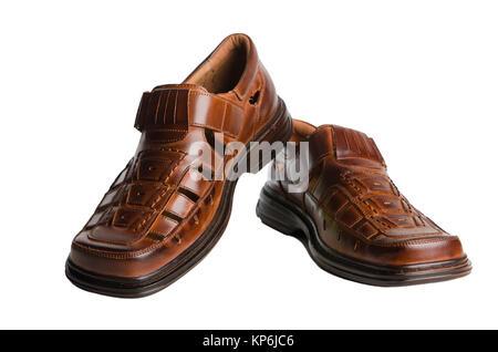 Sandalen aus Leder · Leder Herren Sommerschuhe isoliert auf weiss -  Stockfoto 2b0246eae6