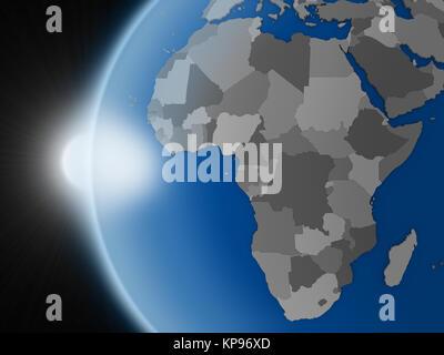 Sonnenuntergang über dem afrikanischen Kontinent aus dem Weltraum - Stockfoto