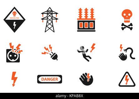 Hohe Spannung einfach Symbole Stockfoto, Bild: 168693652 - Alamy
