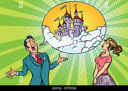 Zuversichtlich Geschäftsmann bietet eine Frau fabelhafte Schloss im Himmel - Stockfoto