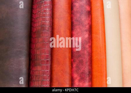 Set aus bunten Leder Materialien - Stockfoto