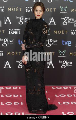 MADRID, Spanien - 7. Februar: Megan Montaner besucht die Goya Filmpreis an der Prinz Felipe Congress Center in Madrid - Stockfoto