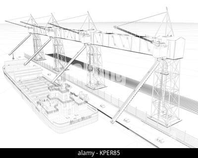 3D Rendering Technologie Projekt Blaupause auf dem weißen geben Sie ...
