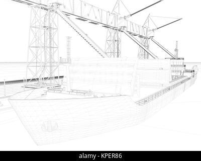 Innenraum Skizze oder Bauplan. 3D-Darstellung. Wire-frame Stil ...