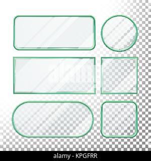 Transparente Tasten Vektor. Glasplatten Elemente. Set Quadratisch, Rund, Rechteckig. Realistische Platten. Kunststoff - Stockfoto