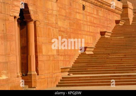 Schritte, Zentralsekretariat (Kendriya Sachivalaya) auf dem Raisina Hill, New Delhi, Indien - Stockfoto