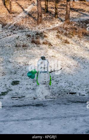 Schneemann in hohe Sichtbarkeit Weste im Phoenix Park in Dublin an einem schönen verschneiten und eisigen Winter - Stockfoto